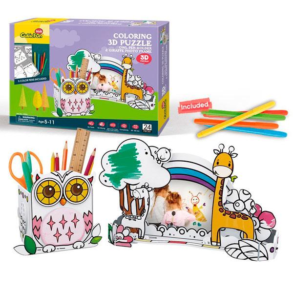 Пазл-раскраска Сова и жираф (5 фломастеров в комплекте ...