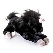 (10-809) Игрушка мягкая Лошадка лежачая вороная 30 см, фото 1