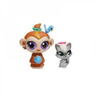 """Набор Littlest Pet Shop """"Мама и Малыш"""" Мартышка и малыш-енот, фото 1"""