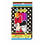 Цветные карандаши толстые трёхгранные 12 цв. Disney Минни  Росмэн (Rosman) (22633), фото 1