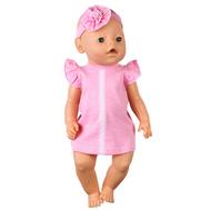 Платье розовое с кружевом и повязка-цветок для куклы Беби Бон 38-43 см, фото 1