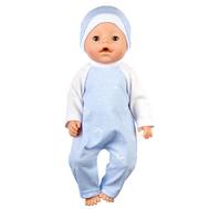 Комбинезон синий в полоску с шапочкой для куклы Беби Бон 38-43 см, фото 1