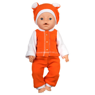 Одежда оранжевая  из флиса с шапочкой для куклы Беби Бон 38-43 см, фото 1