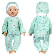 Комбинезон зеленый  с собачками и шапочкой для куклы Беби Бон 38-43 см, фото 1
