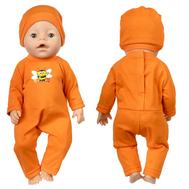 Комбинезон оранжевый с пчелой и шапочкой для куклы Беби Бон 38-43 см, фото 1