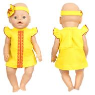 Платье желтое с кружевом и повязка-цветок для куклы 38-43 см, фото 1