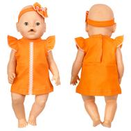 Платье оранжевое с кружевом и повязка-цветок для куклы Беби Бон 38-43 см, фото 1