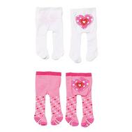 Колготки 2шт. розовые-белые с сердечком для куклы 38-46 см. Baby born, Baby Annabell (870-174-2), фото 1