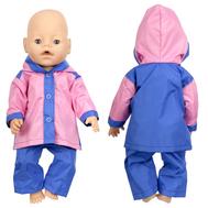 Набор №1 Демисезонный одежды розово-синий, куртка с капюшоном, штанишки для куклы Беби Бон 38-43 см., фото 1