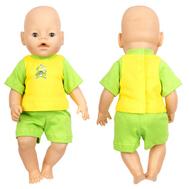 Набор одежды желто-зеленый футболка, шорты для куклы Беби Бон 38-43 см, фото 1