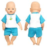 Набор одежды сине-белый футболка, шорты для куклы Беби Бон 38-43 см, фото 1