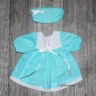 Набор одежды бирюзовое платье в горошек, полоска на голову для куклы Беби Бон 38-43 см, фото 1