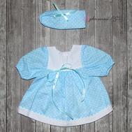 Набор одежды голубое платье в горошек, полоска на голову для куклы Беби Бон 38-43 см, фото 1