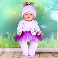 """Набор одежды """"Комбинезончик модный фиолетовый"""" комбинезон, шапочка для куклы Беби Бон 43 см., фото 1"""