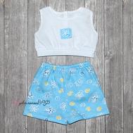 """Набор одежды бело-голубой """"Майка и шорты"""" для куклы Беби Бон 38-43 см, фото 1"""