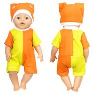 Набор одежды желто-оранжевый, боди-песочник, шапочка для куклы Беби Бон 38-43 см, фото 1