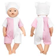 Набор одежды розово-белый, боди-песочник, шапочка для куклы Беби Бон 38-43 см, фото 1