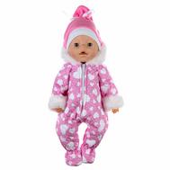 """Набор зимний одежды """"Комбинезон розовый с капюшоном и шапкой"""" для куклы Беби Бон 38-43 см, фото 1"""