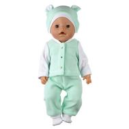 Одежда салатовая  из флиса с шапочкой для куклы Беби Бон 38-43 см, фото 1