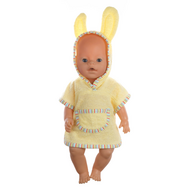 Халат желтый с капюшоном для куклы Беби Бон 38-43 см, фото 1