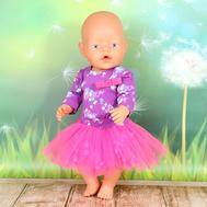 Набор одежды фиолетово-розовый боди с длинным руковом, юбка для куклы Беби Бон 43 см., фото 1