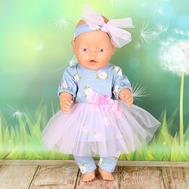"""Набор одежды """"Красотка в сером"""" платье, штанишки, повязка для куклы Беби Бон 43 см., фото 1"""