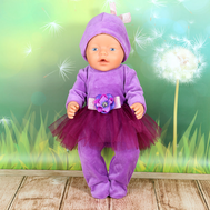 """Набор одежды """"Комбинезончик модный фиолетовый"""" комбенизон, шапочка для куклы Беби Бон 43 см., фото 1"""
