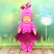 """Набор одежды """"Комбинезончик модный розовый"""" комбенизон, шапочка для куклы Беби Бон 43 см., фото 1"""