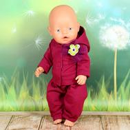 """Набор одежды бордовый """"Толстовка с капюшоном, штаны"""" для куклы Беби Бон 43 см., фото 1"""
