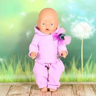 """Набор одежды фиолетовый  """"Толстовка с капюшоном, штаны"""" для куклы Беби Бон 43 см., фото 1"""