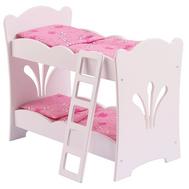 Кроватка Двухъярусная с постельным бельем для куклы Беби Бон, Анабель, деревянная, фото 1